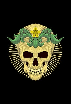 Human skull with flower artwork illustration