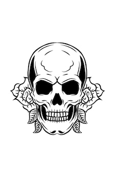 Human skull with flower and leaves vector illustration