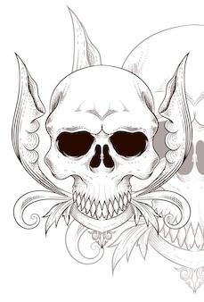 Human skull with flower vector illustration