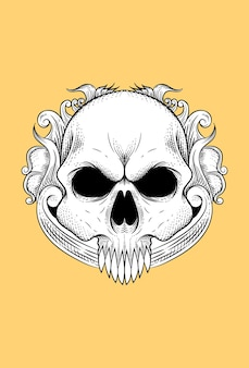 Human skull with a flower vector illustration Premium Vector