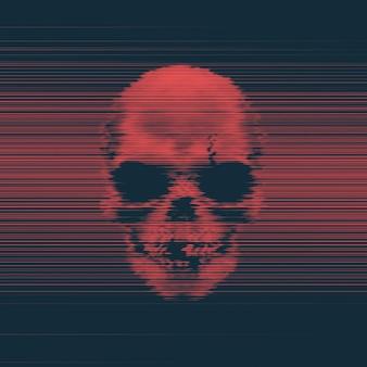 グリッチ効果のある人間の頭蓋骨