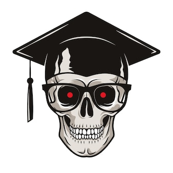 大学院の帽子の眼鏡と赤い目をした人間の頭蓋骨