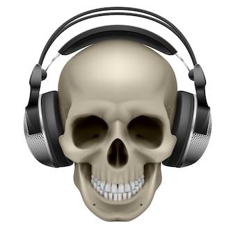 Human skull with headphones,