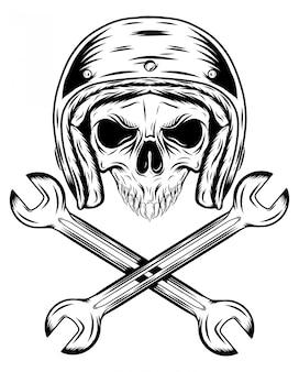 Человеческий череп с шлемом и скрещивающие ключи иллюстрации Premium векторы