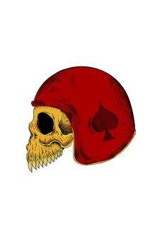 헬멧 벡터 일러스트와 함께 인간의 두개골