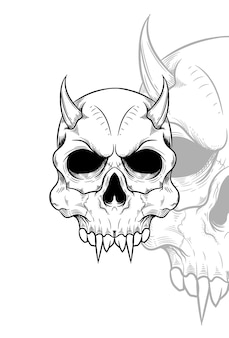 Human skull with horn and devil mask