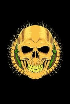 Human skull with ornament art work illustration