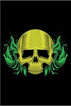 Human skull with plant and leaf art work illustration