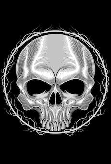 Human skull with root art work illustration