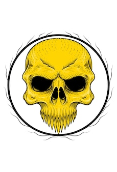 Human skull with root vector illustration