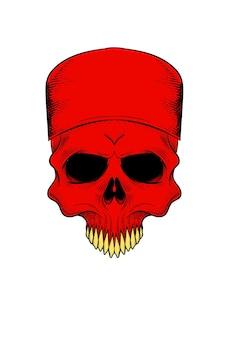 Human skull with skull cap vector illustration