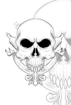 슬링과 병 벡터 일러스트와 함께 인간의 두개골