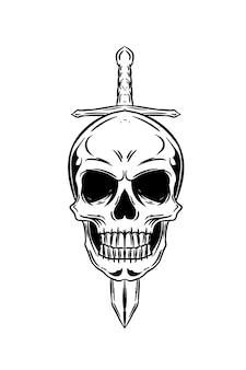 칼 벡터 일러스트와 함께 인간의 두개골