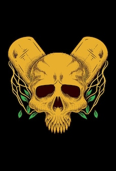 Human skull with tombstone & leaf vector illustration