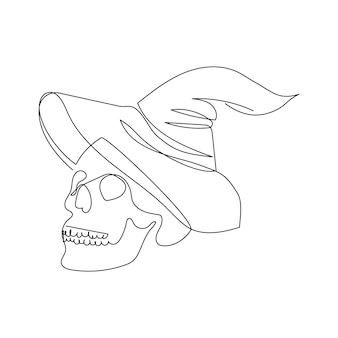 Human skull with witch hat one line art continuous line of halloween theme mysticism witchcraft
