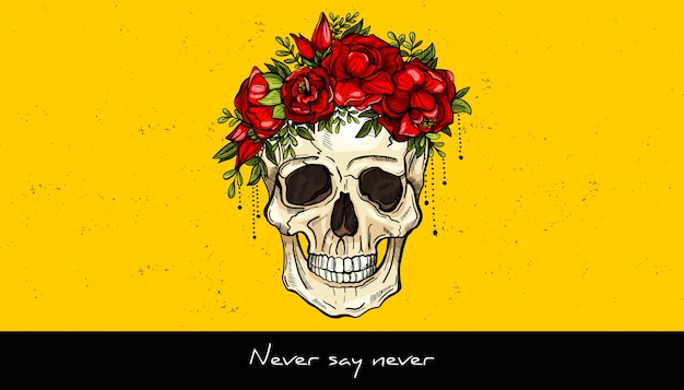Human skull and wreath of flowers tattoo design.