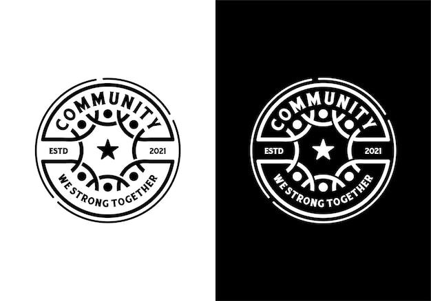 人間の社会的コミュニティとチームワークのロゴの概念。バッジ、エンブレム、スタンプ