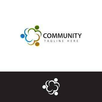 人間の社会的、団結、一緒に、つながり、関係、コミュニティのロゴテンプレートデザイン