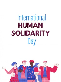 Human solidarity day card with multicultural people