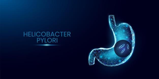人間の胃とヘリコバクターピロリ。ワイヤーフレーム低ポリスタイル。紺色の背景に分離された輝く多角形の細菌細胞。ベクトルイラスト。