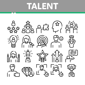 Human talent collection elements icons set