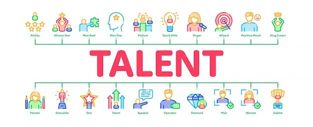 Human talent minimal infographic banner