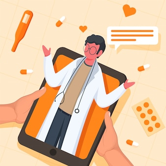 Human talking to doctor in smartphone with top view of medicines, hearts and thermometer on peach yellow grid background.