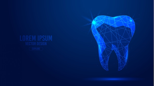 Human tooth, dental implant geometric lines, low poly style wireframe banner template.