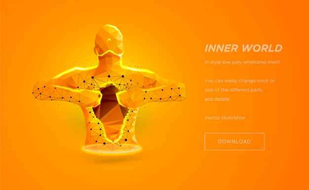 Human torso low poly wireframe art