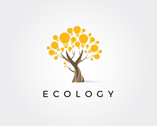Human tree and light bulb logo design human health and care logo design template