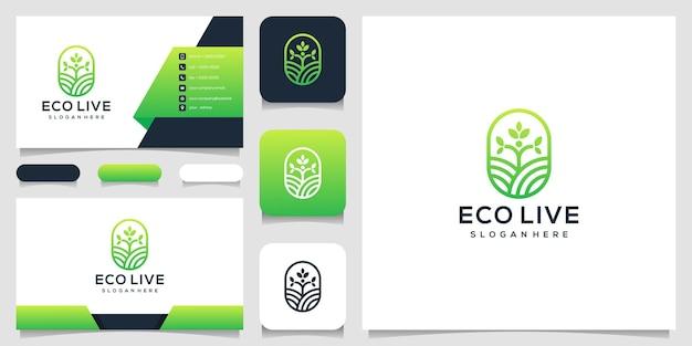 Человеческое дерево линии арт стиль логотип значок иллюстрации и визитная карточка