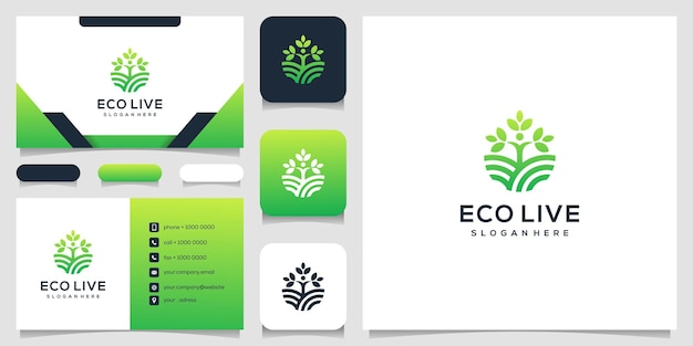 Human tree line art style logo icon illustration and business card