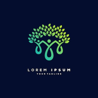 Human tree logo design vector