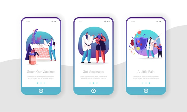 Human vaccination mobile app page onboard screen set.