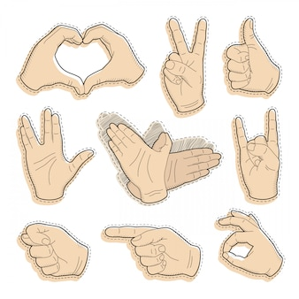 Human vintage hand drawing with pointing finger, peace sign, love gesture