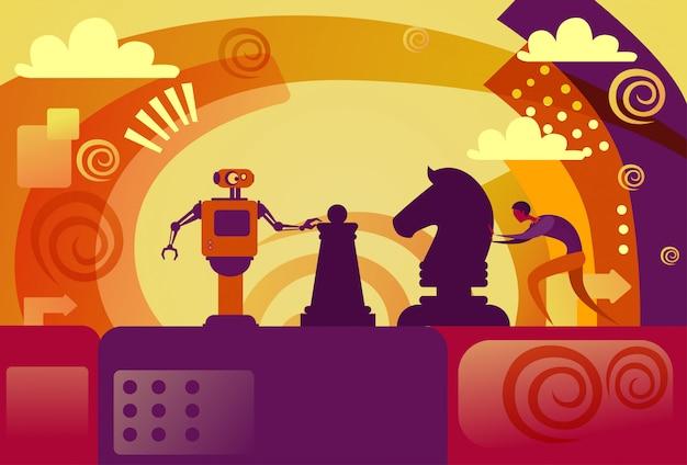 Человек против искусственного интеллекта деловой человек, играя в шахматы с современным роботом