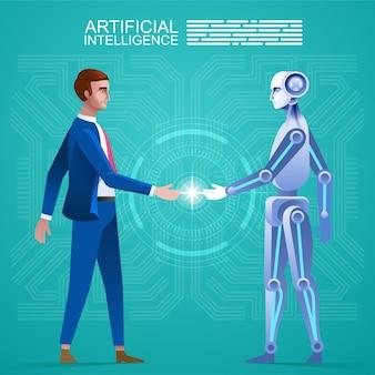 人間対ロボット、ロボットと一緒に立っているビジネスマン。コンセプトビジネスオートメーションの将来のイラスト。漫画のキャラクターと抽象