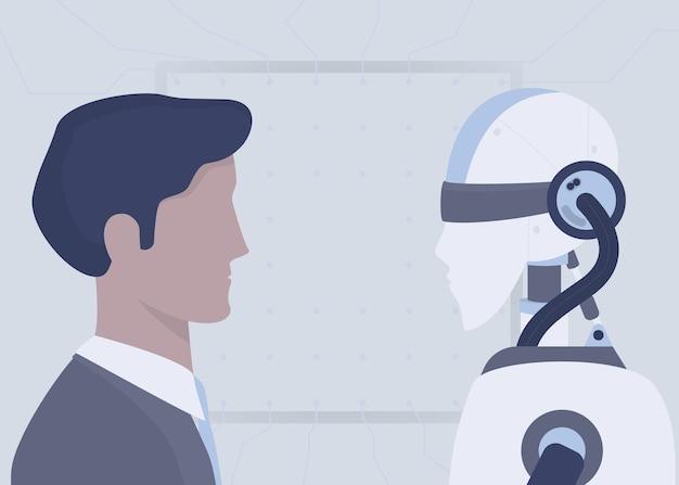 Человек против концепции робота. сравнение искусственного интеллекта и человеческого разума. замена сотрудника ide. голова человека и искусственный робот. иллюстрация