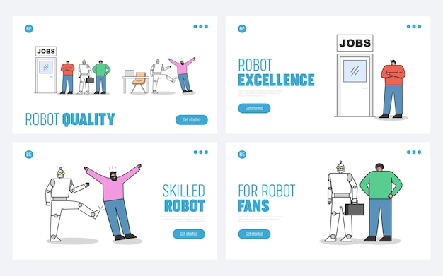 Human vs robots set of landing pages. robotic automation and artificial intelligence in office concept