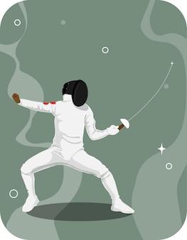 緑の背景に剣で練習するヒューマンウェアフェンシングスーツ。