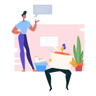 Human with speech bubbles illustration
