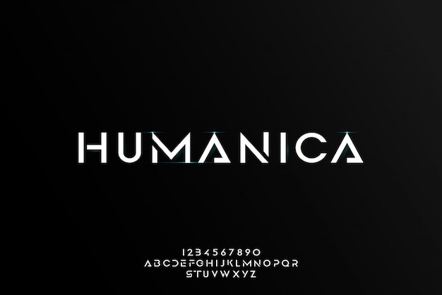 Humanica, an abstract futuristic alphabet font with technology theme. modern minimalist typography design
