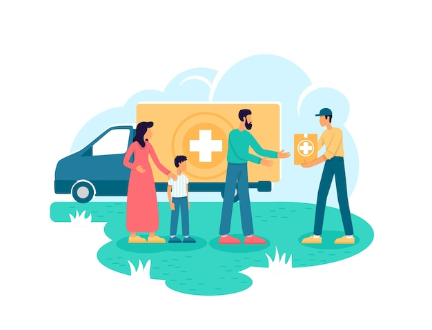 Humanitarian aid 2d web banner, poster. voluntary organization flat characters on cartoon background. medical help. donation for people in need printable patch, colorful web element