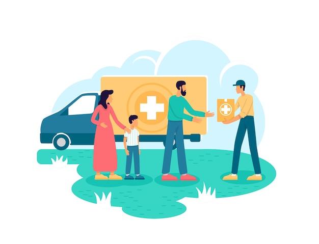 Гуманитарная помощь 2d веб-баннер, плакат. добровольная организация плоских персонажей на фоне мультфильмов. медицинская помощь. пожертвование для нуждающихся: нашивка для печати, красочный веб-элемент