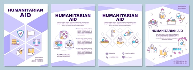 人道援助と避難所の機会のパンフレットテンプレート。チラシ、小冊子、リーフレットプリント、線形アイコン付きのカバーデザイン。プレゼンテーション、年次報告書、広告ページのベクターレイアウト