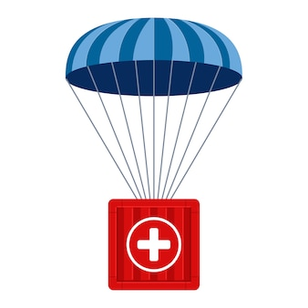 Humanitarian aid. medical cargo goes down to hard-to-reach places with a parachute. flat illustration