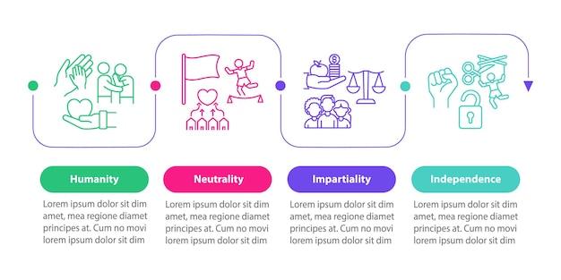 Гуманитарная помощь вектор инфографики шаблон. гуманность, беспристрастность очерчивают элементы дизайна. визуализация данных в 4 шага. информационная диаграмма временной шкалы процесса. макет рабочего процесса с иконками линий