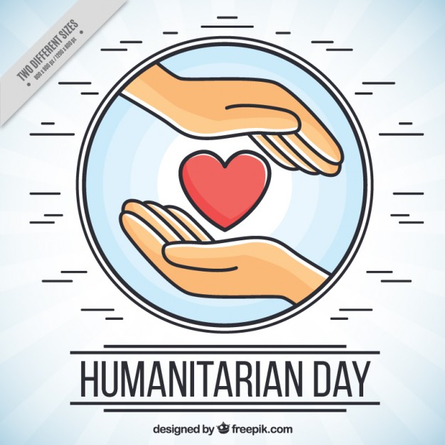 Humanitarian day background with hands