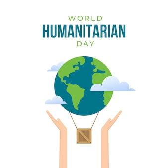 人道主義の日の地球とキャラクターの手