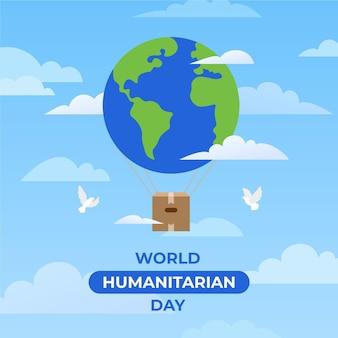 人道主義の日の地球とハト